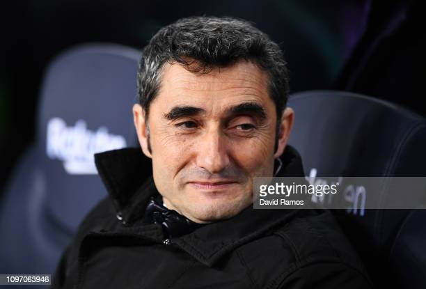 Ernesto Valverde Manager of Barcelona looks on prior to the La Liga match between FC Barcelona and CD Leganes at Camp Nou on January 20 2019 in...