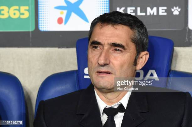 Ernesto Valverde manager of Barcelona looks on prior to the La Liga match between RCD Espanyol and FC Barcelona at RCDE Stadium on January 04 2020 in...