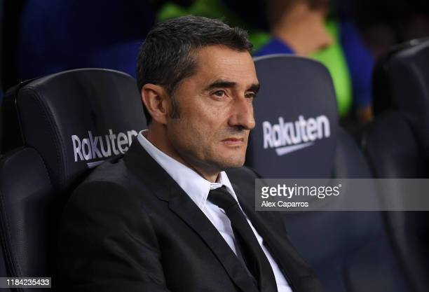 Ernesto Valverde Manager of Barcelona looks on prior to the Liga match between FC Barcelona and Real Valladolid CF at Camp Nou on October 29 2019 in...