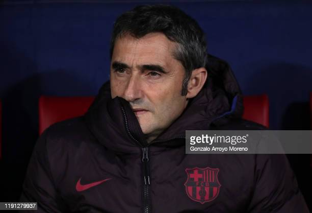 Ernesto Valverde manager of Barcelona looks on prior to the Liga match between Club Atletico de Madrid and FC Barcelona at Wanda Metropolitano on...