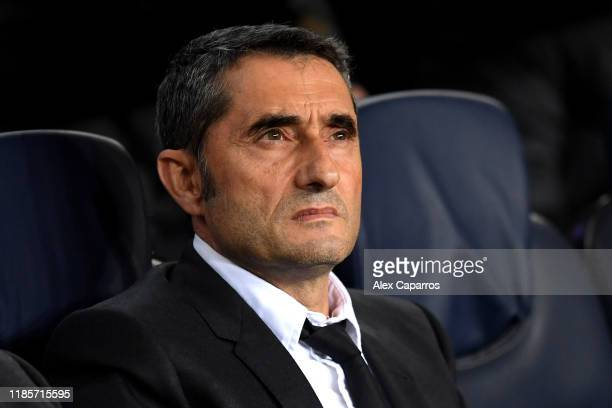 Ernesto Valverde manager of Barcelona looks on prior to the UEFA Champions League group F match between FC Barcelona and Slavia Praha at Camp Nou on...