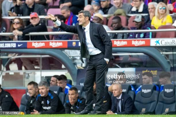 Ernesto Valverde manager of Barcelona on the sideline during the Barcelona V Alaves La Liga regular season match at Estadio Camp Nou on December 21st...