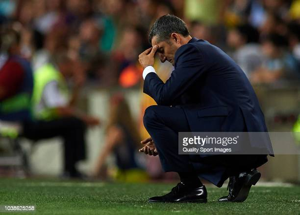 Ernesto Valverde Manager of Barcelona reacts during the La Liga match between FC Barcelona and Girona FC at Camp Nou on September 23 2018 in...