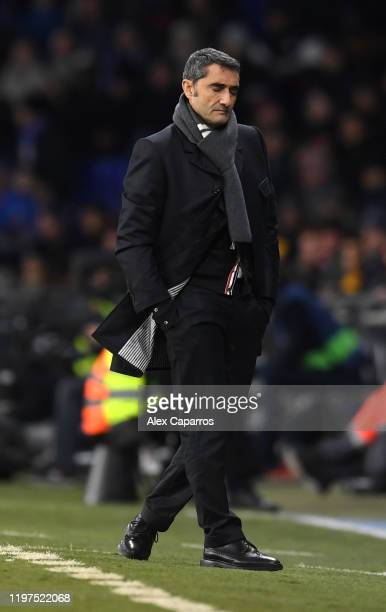 Ernesto Valverde manager of Barcelona reacts during the La Liga match between RCD Espanyol and FC Barcelona at RCDE Stadium on January 04, 2020 in...