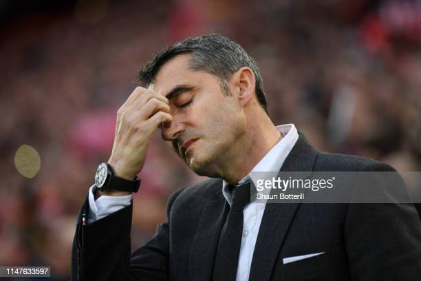 Ernesto Valverde, Manager of Barcelona reacts during the UEFA Champions League Semi Final second leg match between Liverpool and Barcelona at Anfield...