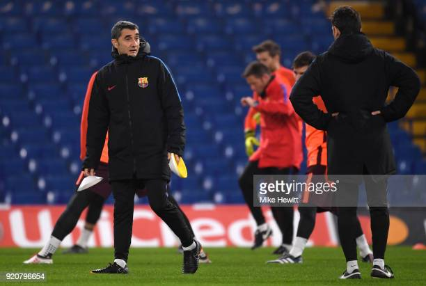 Ernesto Valverde manager of Barcelona sets up during an FC Barcelona Training Session ahead of their Champions League last 16 match against Chelsea...