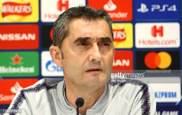 Ernesto Valverde, Manager of Barcelona talks the media during the Barcelona press conference on the eve of the UEFA Champions League Semi Final...