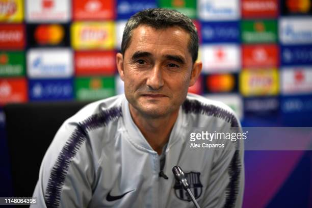 Ernesto Valverde, Manager of FC Barcelona attends an FC Barcelona press conference ahead of their UEFA Champions League semi-final first leg match...