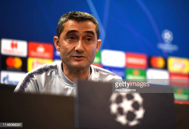 Ernesto Valverde Manager of FC Barcelona attends an FC Barcelona press conference ahead of their UEFA Champions League semifinal first leg match...
