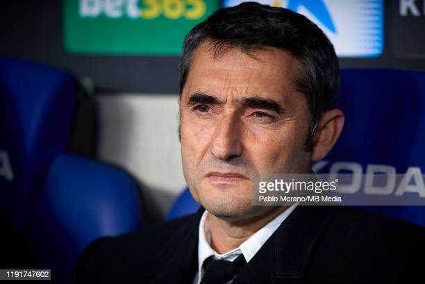 Ernesto Valverde, Manager of FC Barcelona looks on prior the Liga match between RCD Espanyol and FC Barcelona at RCDE Stadium on January 4, 2020 in...