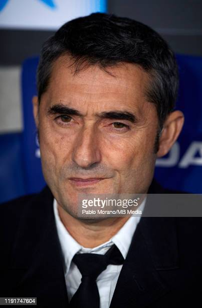 Ernesto Valverde Manager of FC Barcelona looks on prior the Liga match between RCD Espanyol and FC Barcelona at RCDE Stadium on January 4 2020 in...