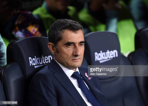 Ernesto Valverde Manager of FC Barcelona looks on prior to kick off during the La Liga match between FC Barcelona and Sevilla FC at Camp Nou on...
