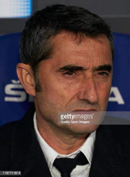 Ernesto Valverde Manager of FC Barcelona looks on prior to the Liga match between RCD Espanyol and FC Barcelona at RCDE Stadium on January 04 2020 in...