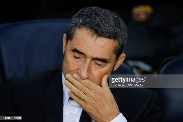Ernesto Valverde of FC Barcelona close the eyes during the UEFA Champions League group F match between FC Barcelona and Slavia Praha at Camp Nou on...
