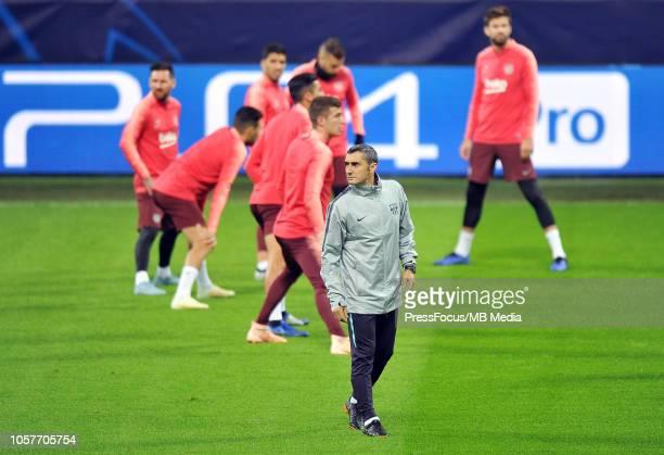 Ernesto Valverde of FC Barcelona during the FC Barcelona training session at San Siro Stadium on November 5 2018 in Milan Italy