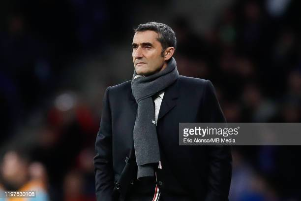 Ernesto Valverde of FC Barcelona follows the action during the Liga match between RCD Espanyol and FC Barcelona at RCDE Stadium on January 04, 2020...