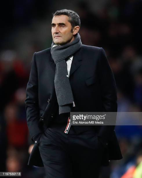 Ernesto Valverde of FC Barcelona follows the action during the Liga match between RCD Espanyol and FC Barcelona at RCDE Stadium on January 04 2020 in...