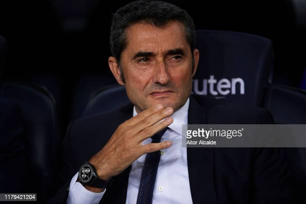 Ernesto Valverde of FC Barcelona looks on during the Liga match between FC Barcelona and Sevilla FC at Camp Nou on October 06 2019 in Barcelona Spain