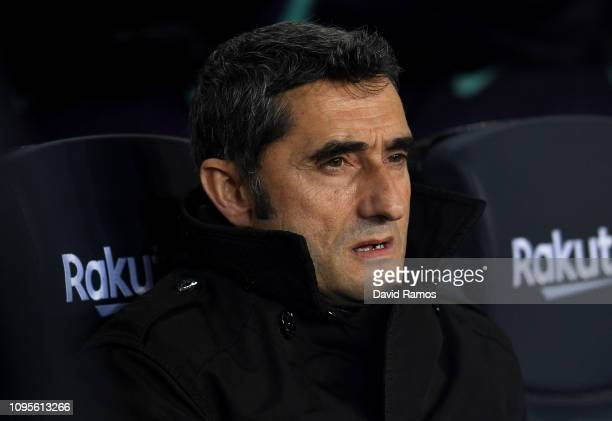 Ernesto Valverde of FC Barcelona looks on prior to the Copa del Rey Round of 16 match between FC Barcelona and Levante at Nou Camp on January 17 2019...
