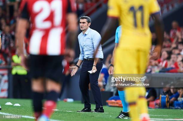 Ernesto Valverde of FC Barcelona reacts during the Liga match between Athletic Club and FC Barcelona at San Mames Stadium on August 16 2019 in Bilbao...
