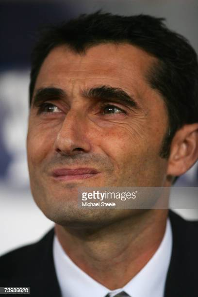 Ernesto Valverde Tejeror coach of Espanyol during the UEFA Cup SemiFinal 1st Leg match between Espanyol and Werder Bremen at the Estadi Olimpic on...