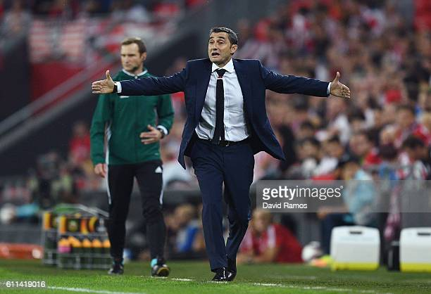 Ernesto Valverde the head coach of Athletic Bilbao reacts during the UEFA Europa League group F match between Athletic Club and SK Rapid Wien at the...