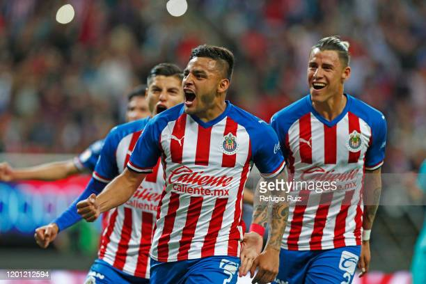 Ernesto Vega of Chivas celebrates after scoring his team's first goal during the 6th round match between Chivas and Cruz Azul as part of the Torneo...