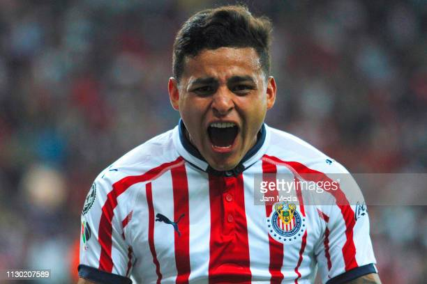 Ernesto Vega of Chivas celebrates after scoring the first goal of his team during the seventh round match between Chivas and Atlas as part of the...