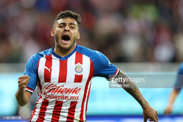 Ernesto Vega of Chivas celebrates after scoring the first goal of his team during the 1st round match between Chivas and FC Juarez as part of the...