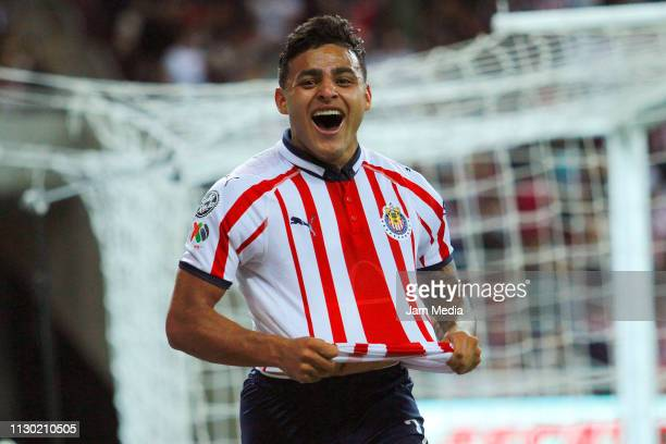 Ernesto Vega of Chivas celebrates after scoring the second goal of his team during the seventh round match between Chivas and Atlas as part of the...