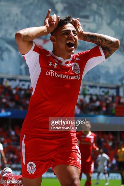 Ernesto Vega of Toluca celebrates after scoring the first goal of his team during the third round match between Toluca and Chivas as part of the...