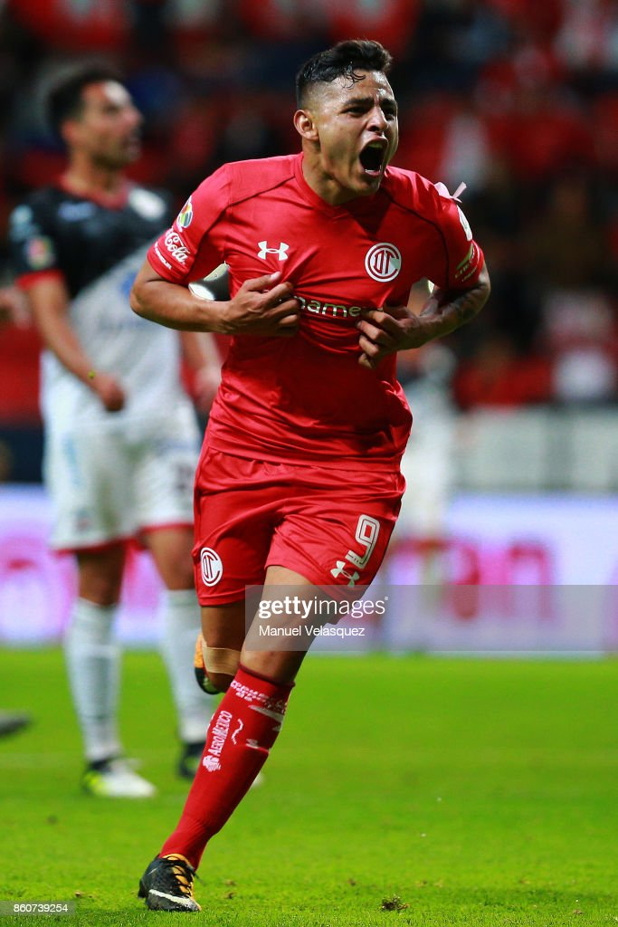 Ernesto Vega of Toluca celebrates after scoring the third goal of his team during the 13th round match between Toluca and Lobos BUAP as part of the Torneo Apertura 2017 Liga MX at Nemesio Diez Stadium on October 11, 2017 in Toluca, Mexico.