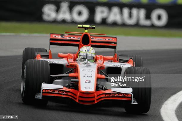 Ernesto Viso of Venezuela and Spyker F1 Racing drives in the second practice for the Brazilian Formula One Grand Prix at the Autodromo Interlagos on...