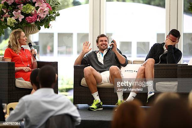 Ernests Gulbis of Latvia and Milos Raonic of Canada speak to Diana Dougherty ahead of their match at The Boodles Tennis Event at Stoke Park on June...