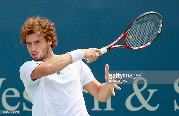 Ernests Gulbis of Latvia during Day 2 of the Western Southern Financial Group Masters at the Lindner Family Tennis Center on August 17 2010 in...