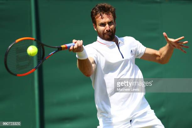 Ernests Gulbis of Latvia during his Men's Singles first round match against Jay Clarke of Great Britain on day two of the Wimbledon Lawn Tennis...