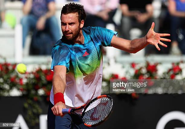 Ernests Gulbis of Latvia in actino against Denis Kudla of the United States during day one of the The Internazionali BNL d'Italia 2016 at on May 08...