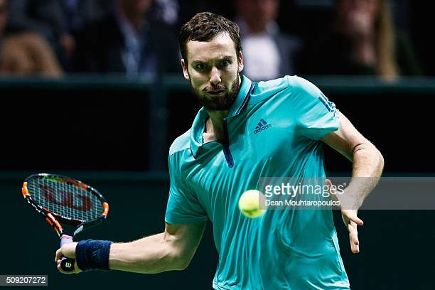 Ernests Gulbis of Latvia in action against Gael Monfils of France during day 2 of the ABN AMRO World Tennis Tournament held at Ahoy Rotterdam on...