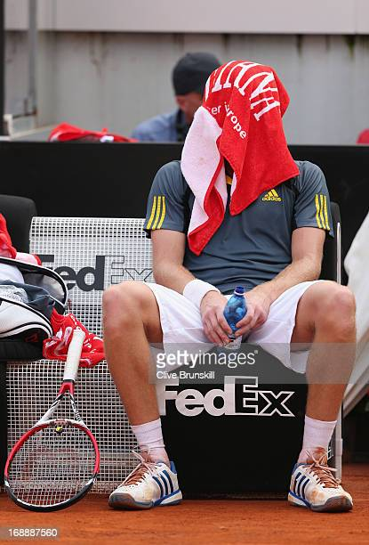 Ernests Gulbis of Latvia shows his dejection against Rafael Nadal of Spain in their third round match during day five of the Internazionali BNL...
