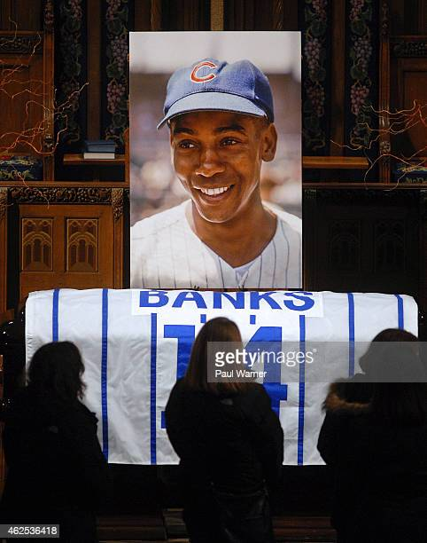 Ernie Banks portrait and flag draped casket lie in state during visitation at Fourth Presbyterian Church on January 30, 2015 in Chicago, Illinois.