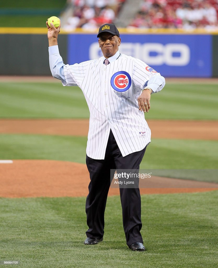 Ernie Banks throws out the first pitch before the Gillette Civil Rights Game between the Cincinnati Reds and the St. Louis Cardinals at Great American Ball Park on May 15, 2010 in Cincinnati, Ohio.