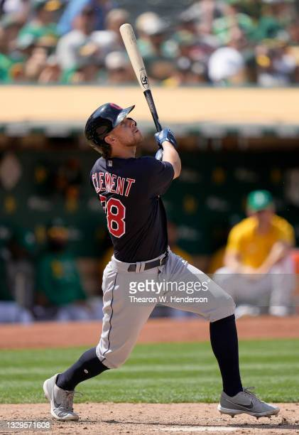 Ernie Clement of the Cleveland Indians bats against the Oakland Athletics in the top of the ninth inning at RingCentral Coliseum on July 18, 2021 in...
