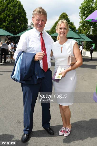 Ernie Els and Liezl Els attend day seven of the Wimbledon Tennis Championships at the All England Lawn Tennis and Croquet Club on July 9 2018 in...