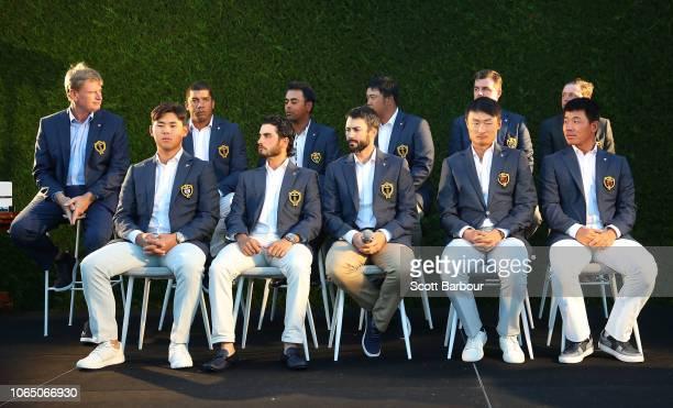 Ernie Els captain of the International Team and prospective members of the 2019 International Team including Kiradech Aphibarnrat of Thailand Anirban...