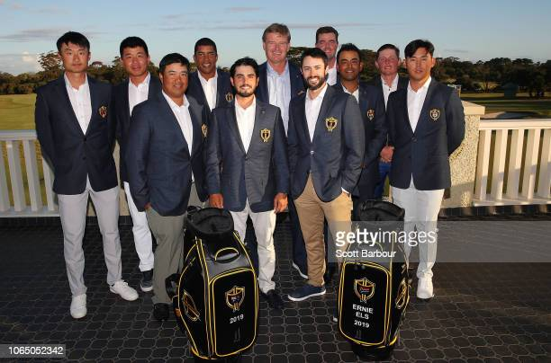 Ernie Els captain of the International Team poses for a photo with prospective members of the 2019 International Team including Kiradech Aphibarnrat...