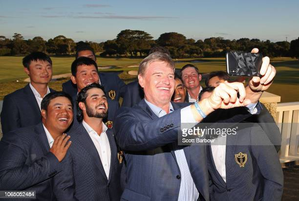 Ernie Els, captain of the International Team poses for a selfie photo with prospective members of the 2019 International Team including Kiradech...