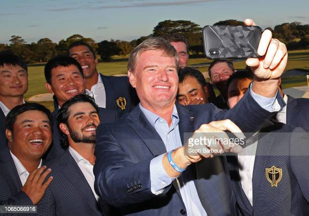 Ernie Els captain of the International Team poses for a selfie photo with prospective members of the 2019 International Team including Kiradech...