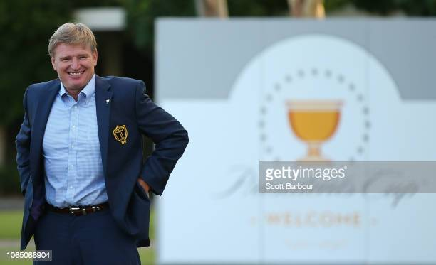 Ernie Els captain of the International Team speaks at the Presidents Cup International Team Reception after day four of the 2018 World Cup of Golf at...