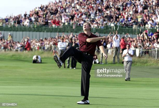 Best quality available) Ernie Els celebrating after winning the British Open July 2002 the Open Championship