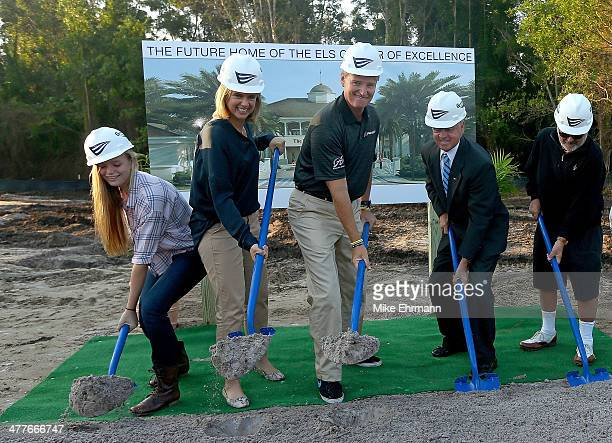 Ernie Els daughter Samantha and wife Liezl Els break ground for the Els Center for Autism prior to the Autism Proam at The PGA National Golf Club on...